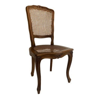 French Fruitwood Caned Chair For Sale