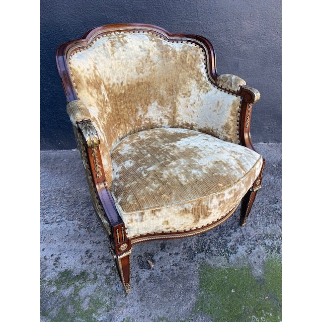 19th Century Vintage French Bronze Mounted Barrel Chair For Sale - Image 9 of 13