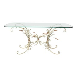 Regency Sheaf of Wheat Console or Entryway Table After Maison Baguès, Italy For Sale