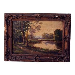 Framed Vintage French Landscape Oil on Canvas Painting For Sale