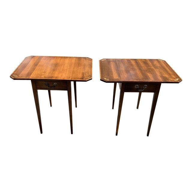 L. Hitchcock Solid Wood Single Drawer Drop Leaf Side Tables - a Pair For Sale