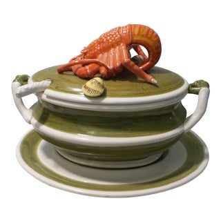 Vintage Lobster Green & Orange Soup Tureen