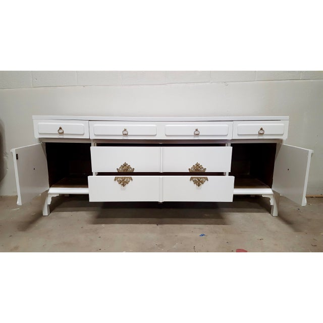 White Lacquered Moroccan-Style Credenza For Sale In Raleigh - Image 6 of 8