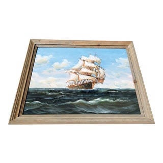 Framed K. Dossi Nautical Sailing Clipper Ship Painting