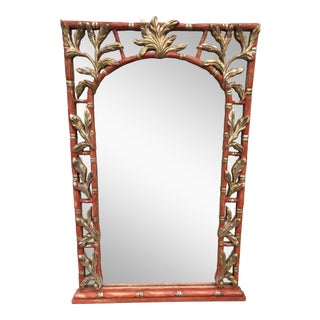 Vintage Serge Roche Style Wooden Bamboo & Palm Leaf Mirror For Sale