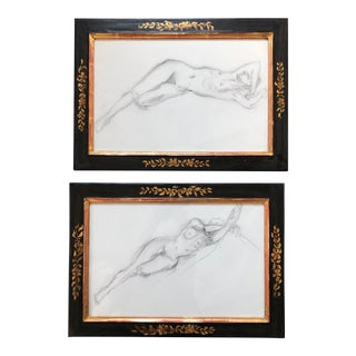 Original Vintage Female Nude Charcoal Study's Gilt & Blk Frames APair