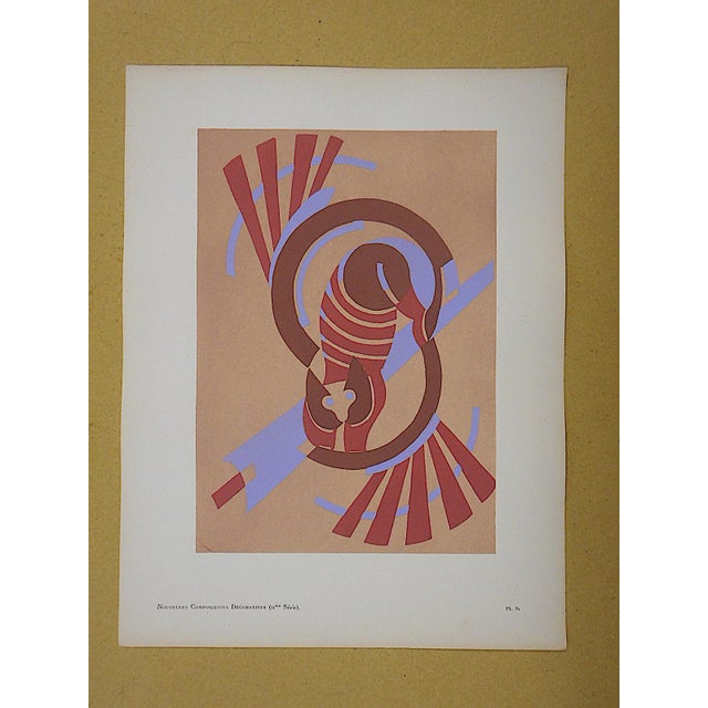 Vintage Serge Gladky Limited Edition Pochoir Print of Abstracted Cat, Circa1928 - Image 2 of 3