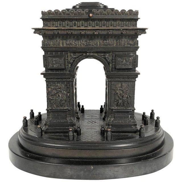 19th Century Grand Tour Bronze Architectural Model of the Arc De Triomphe, Paris For Sale - Image 12 of 12