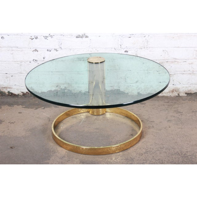 Pace Collection Leon Rosen for Pace Collection Cantilevered Brass and Glass Coffee Table For Sale - Image 4 of 9