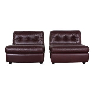 Mario Bellini Leather Lounge Chairs - a Pair