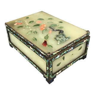 Antique Chinese Green Jade and Cloisonné Hinged Trinket Box With Coral Flowers For Sale