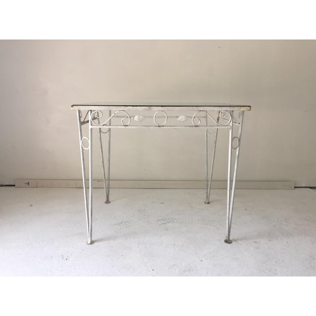 Metal C.1970 Apartment Size Wrought Iron Glass Top Table For Sale - Image 7 of 7