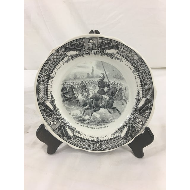 Ceramic Sarreguemines French Military Life Plates - Set of 7 For Sale - Image 7 of 9