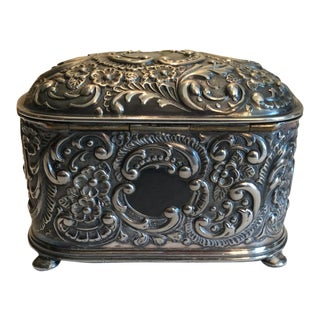 19th Century Victorian Wilcox Silver Plate Repousse Jewelry Casket Box For Sale