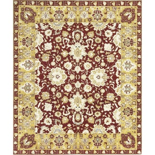 Traditional Indian Hand Woven Wool Rug - 8'3 X 10'1 For Sale