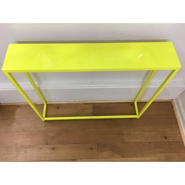 ABC Carpet & Home Contemporary Fluorescent Yellow Powder-Coated Metal Console Table For Sale - Image 4 of 8