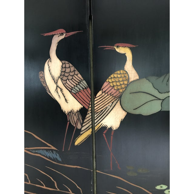 Chinoiserie 1980s Maitland-Smith Eight Panel Asian Lacquered Wood Screen Room Divider For Sale - Image 3 of 13