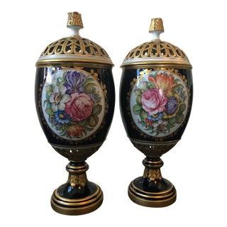 Italian Victorian Lidded Urns - a Pair