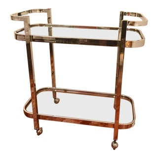 1970s Modern Milo Baughman Chrome Bar Cart For Sale
