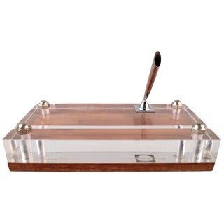 Chrome Pencil Holder on Lucite & Wood For Sale