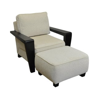 Thayer Coggin Modern Design Black & White Lounge Chair w/ Ottoman For Sale