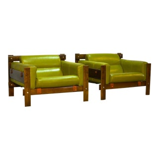 Pair of Mid-Century Modern Brazilian Design Imboya Wood Easy Lounge Armchairs by Percival Lafer for L'atelier, 1970s