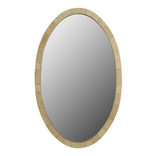 French Art Deco Large Oval Shaped Cream Colored Shagreen Wall Mirror For Sale