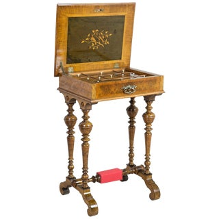 Eclectic Walnut Sewing Table, circa 1900 For Sale