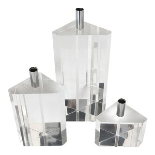 Faceted Lucite Candleholders - Set of 3