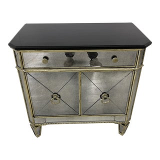 Hollywood Regency Style Bassett Furniture Marble Top Mirrored Chest For Sale