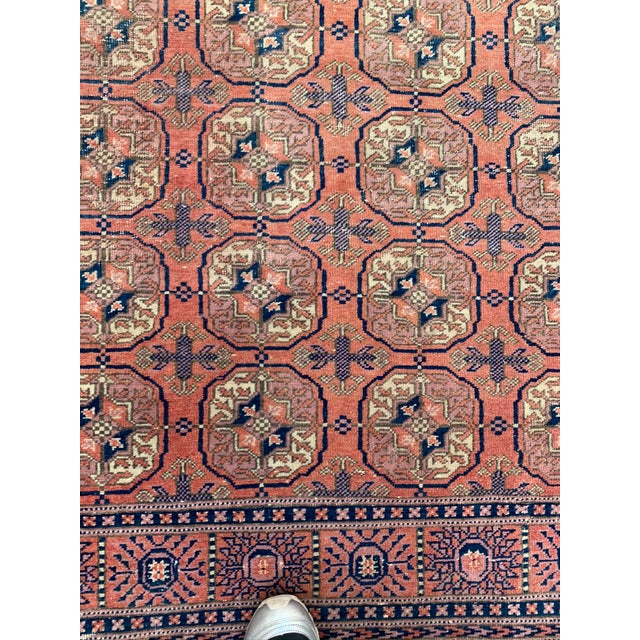 Mid 20th Century Vintage Salmon & Navy Persian Runner-3′3″ × 9′4″ For Sale - Image 4 of 8