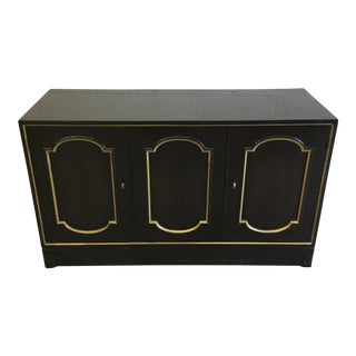 Henredon Hollywood Regency Black Lacquer Buffet Credenza For Sale