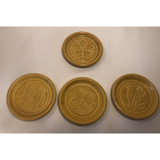 Pigeon Forge Pottery Yellow Coasters-Ashtrays Old Buttermold - Set of 4 For Sale - Image 12 of 13