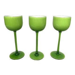1970s Carlo Moretti Green Cased Glass Wine Glasses - Set of 3 For Sale