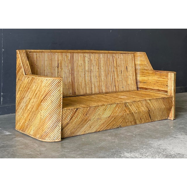 Contemporary Vintage Bamboo Sofa For Sale - Image 3 of 10