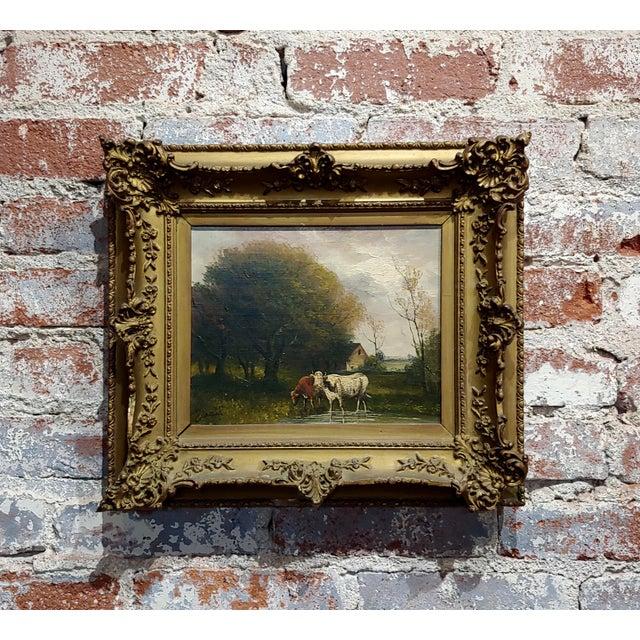 Jaques Durant -Landscape W/ Cows-Impressionist Oil Painting-C1860s For Sale - Image 10 of 10