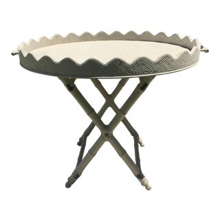 1970s Mid-Century Modern Grazin' in the Grass Pie Crust Grass Cloth Tray Table For Sale