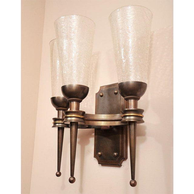 Bronze Pair of Monumental 1940s Wall Sconces For Sale - Image 7 of 8