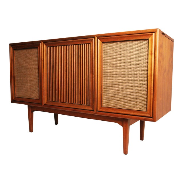 Drexel Mid-Century Modern Record Console Credenza For Sale