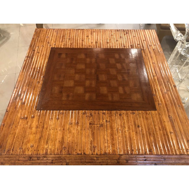 Hollywood Regency Vintage Hollywood Regency Palm Beach Flat Reed Bamboo Rattan Game Dining Table For Sale - Image 3 of 13
