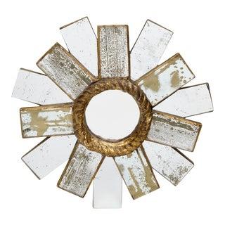 Petite Vintage Sunburst Mirror For Sale