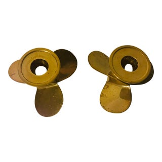 Vintage Propellor Solid Brass Nautical Decor Candle Holders - a Pair For Sale