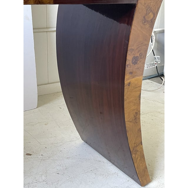 Brown Vintage Italian Rosewood and Burlwood Console or Desk For Sale - Image 8 of 13