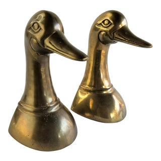 Vintage 1950's Solid Brass Mallard Duck Head Leonard Bookends - a Pair For Sale