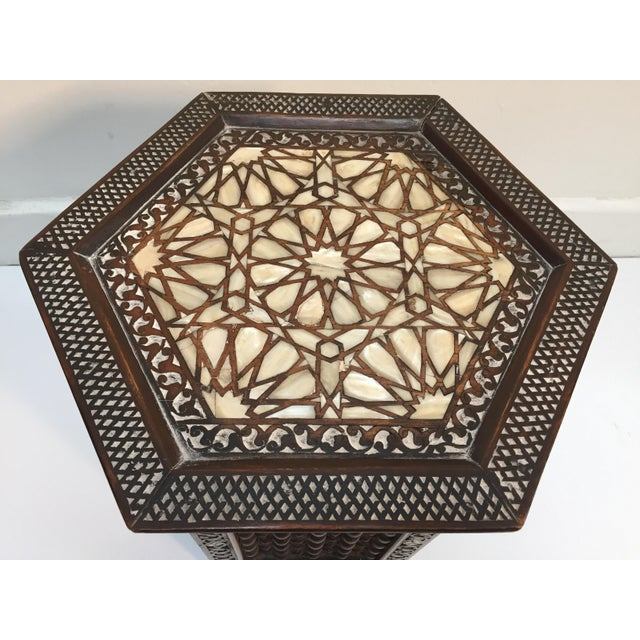 19th Century Syrian Mother-Of-Pearl Inlaid Side Table For Sale - Image 4 of 12