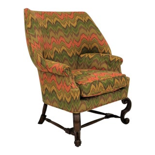 English William & Mary Style Wing Chair For Sale