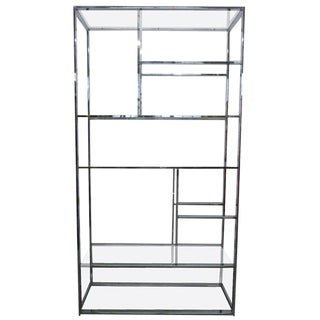 Chrome and Glass Etagere For Sale