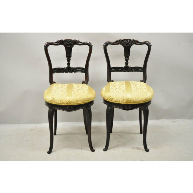 Antique French Victorian Carved Rosewood Small Petite Accent Side Chairs - a Pair. Item features small petite size,...
