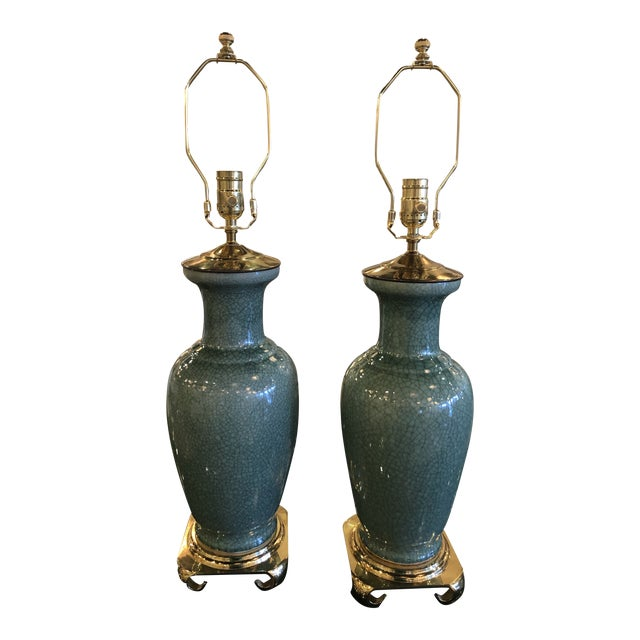 Vintage Hollywood Regency Pagoda Teal Green Crackle Glaze & Brass Table Lamps -A Pair For Sale