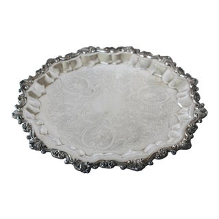 Vintage Mid Century Round Silver Tray For Sale